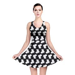 Black And White Cute Baby Socks Illustration Pattern Reversible Skater Dresses by creativemom
