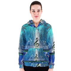 Clef With Water Splash And Floral Elements Women s Zipper Hoodies by FantasyWorld7