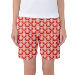 Awesome Retro Pattern Red Women s Basketball Shorts by ImpressiveMoments