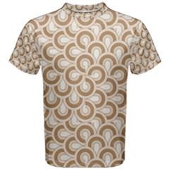 Retro Mirror Pattern Brown Men s Cotton Tees by ImpressiveMoments