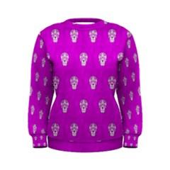 Skull Pattern Hot Pink Women s Sweatshirts by MoreColorsinLife