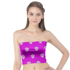 Skull Pattern Hot Pink Women s Tube Tops by MoreColorsinLife