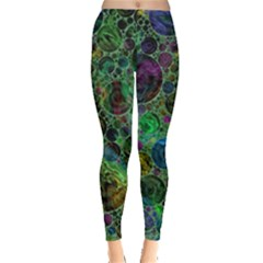 Lovely Allover Bubble Shapes Green Women s Leggings by MoreColorsinLife