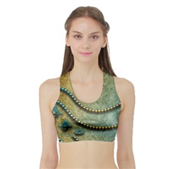 Elegant Vintage With Pearl Necklace Women s Sports Bra With Border