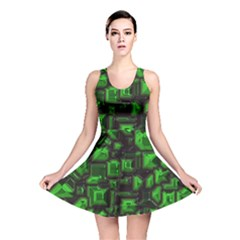 Metalart 23 Green Reversible Skater Dresses by MoreColorsinLife