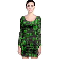 Metalart 23 Green Long Sleeve Bodycon Dresses by MoreColorsinLife