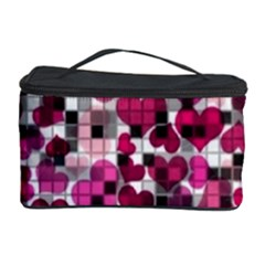 Hearts And Checks, Pink Cosmetic Storage Cases by MoreColorsinLife