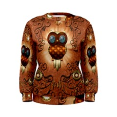 Steampunk, Funny Owl With Clicks And Gears Women s Sweatshirts by FantasyWorld7