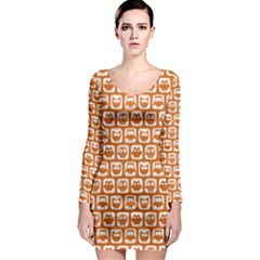Orange And White Owl Pattern Long Sleeve Bodycon Dresses by creativemom