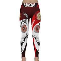 Funny Happy Skull Yoga Leggings by FantasyWorld7