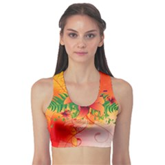Awesome Red Flowers With Leaves Sports Bra by FantasyWorld7