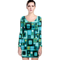 Teal Squares Long Sleeve Bodycon Dresses by KirstenStar