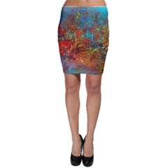 Abstract In Red, Turquoise, And Yellow Bodycon Skirts by digitaldivadesigns