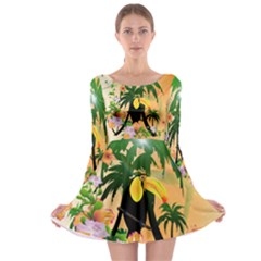 Cute Toucan With Palm And Flowers Long Sleeve Skater Dress by FantasyWorld7