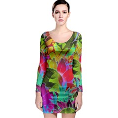 Floral Abstract 1 Long Sleeve Bodycon Dresses by MedusArt