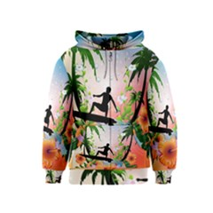 Tropical Design With Surfboarder Kids Zipper Hoodies by FantasyWorld7