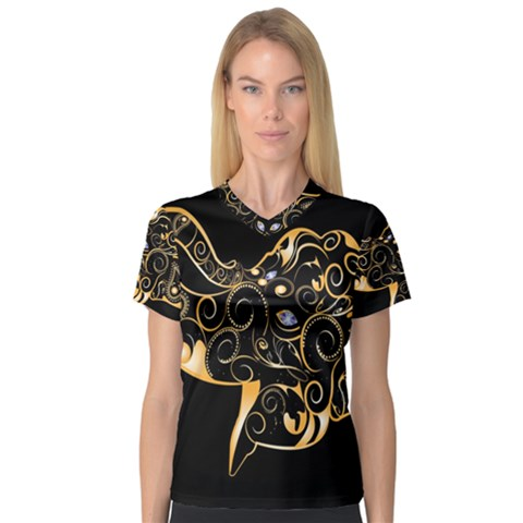 Beautiful Elephant Made Of Golden Floral Elements Women s V Neck Sport Mesh Tee by FantasyWorld7
