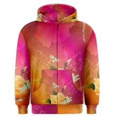 Beautiful Roses With Dragonflies Men s Zipper Hoodies by FantasyWorld7