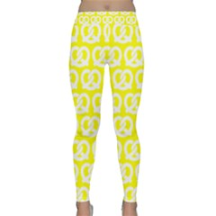 Yellow Pretzel Illustrations Pattern Yoga Leggings by creativemom