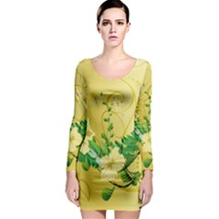 Wonderful Soft Yellow Flowers With Leaves Long Sleeve Bodycon Dresses by FantasyWorld7