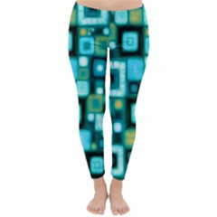 Teal Squares Winter Leggings by KirstenStarFashion