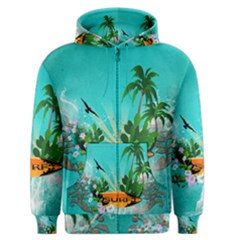 Surfboard With Palm And Flowers Men s Zipper Hoodies by FantasyWorld7