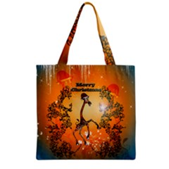 Funny, Cute Christmas Giraffe Grocery Tote Bags by FantasyWorld7