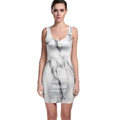 White Marble Stone Print Bodycon Dresses by Dushan