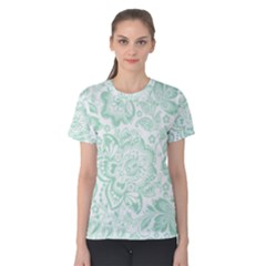 Mint Green And White Baroque Floral Pattern Women s Cotton Tees by Dushan