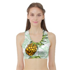 Pineapple Pattern 05 Women s Sports Bra With Border by Famous