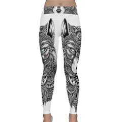 Intricate Elegant Wolf Head Illustration Yoga Leggings by Dushan