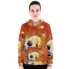 Soccer With Fire And Flame And Floral Elelements Women s Zipper Hoodies by FantasyWorld7