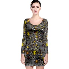 Sci Fi Fantasy Cosmos Yellow Long Sleeve Bodycon Dresses by ImpressiveMoments