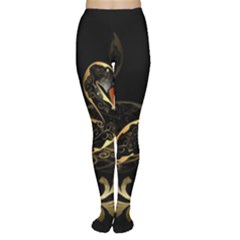 Wonderful Swan In Gold And Black With Floral Elements Women s Tights by FantasyWorld7