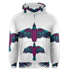 Stained Glass Bird Illustration  Men s Zipper Hoodies by carocollins