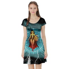 Beautiful Witch With Magical Background Short Sleeve Skater Dresses by FantasyWorld7