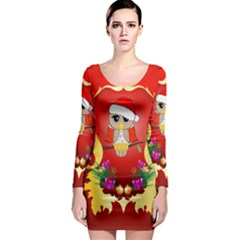 Funny, Cute Christmas Owl  With Christmas Hat Long Sleeve Bodycon Dresses by FantasyWorld7