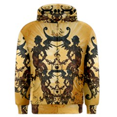 Clef With Awesome Figurative And Floral Elements Men s Zipper Hoodies
