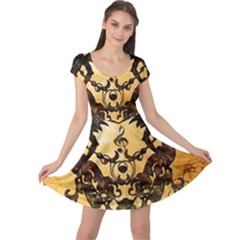 Clef With Awesome Figurative And Floral Elements Cap Sleeve Dresses by FantasyWorld7