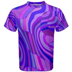 Retro Abstract Blue Pink Men s Cotton Tees by ImpressiveMoments