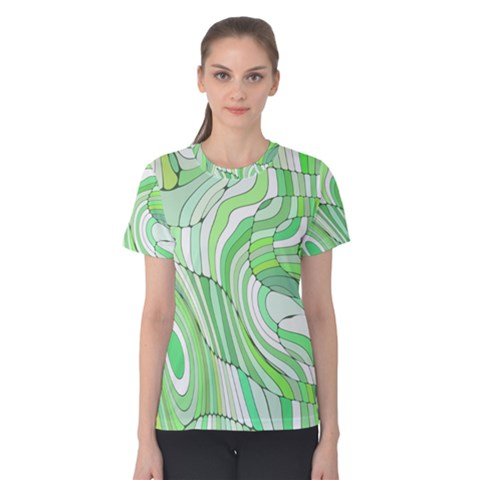 Retro Abstract Green Women s Cotton Tees by ImpressiveMoments