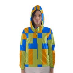 Tetris Shapes Hooded Wind Breaker (women) by LalyLauraFLM