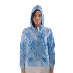Winter Bokeh Blue Hooded Wind Breaker (women) by MoreColorsinLife