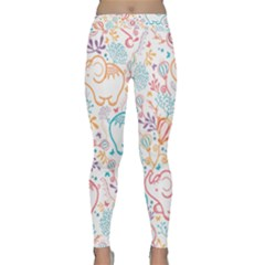 Cute Pastel Tones Elephant Pattern Yoga Leggings by Dushan