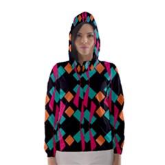 Shapes In Retro Colors  Hooded Wind Breaker (women) by LalyLauraFLM