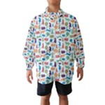 Blue Colorful Cats Silhouettes Pattern Wind Breaker (Kids)