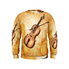 Wonderful Violin With Violin Bow On Soft Background Boys  Sweatshirts by FantasyWorld7