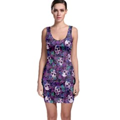 Flowers And Skulls Bodycon Dress by Ellador