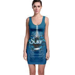 Surf, Surfboard With Water Drops On Blue Background Bodycon Dresses