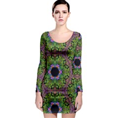 Repeated Geometric Circle Kaleidoscope Long Sleeve Bodycon Dresses by canvasngiftshop